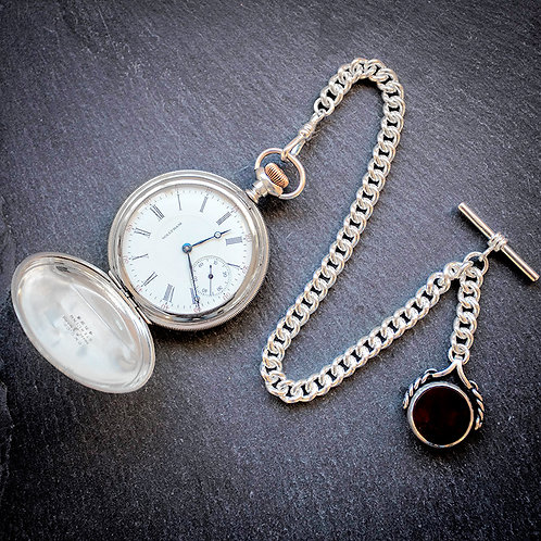 Waltham 17j Sterling Silver Full Hunter Pocket Watch + Chain and Spinner