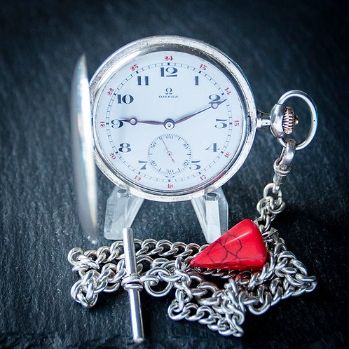 Silver Omega 15 Jewel Full Hunter Pocket Watch