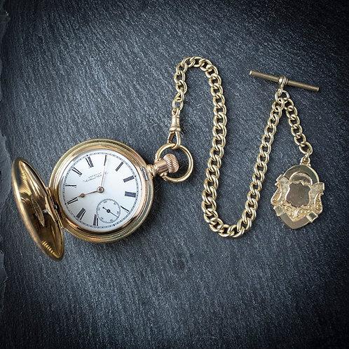 Victorian Waltham Model 1888 Full Hunter Pocket Watch + Chain