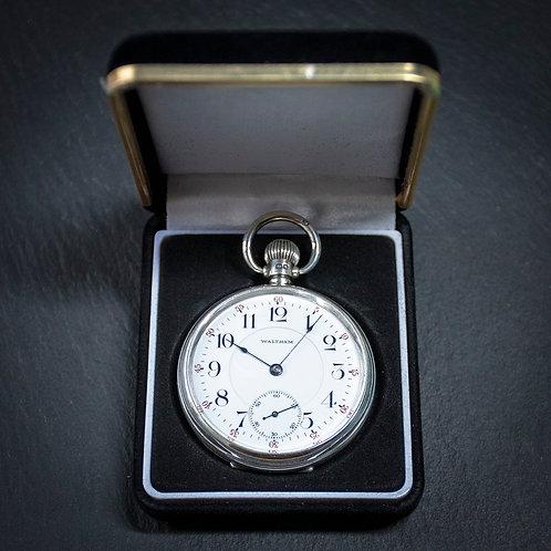 Sterling Silver Waltham 19 Jewel 16s Open Face Pocket Watch