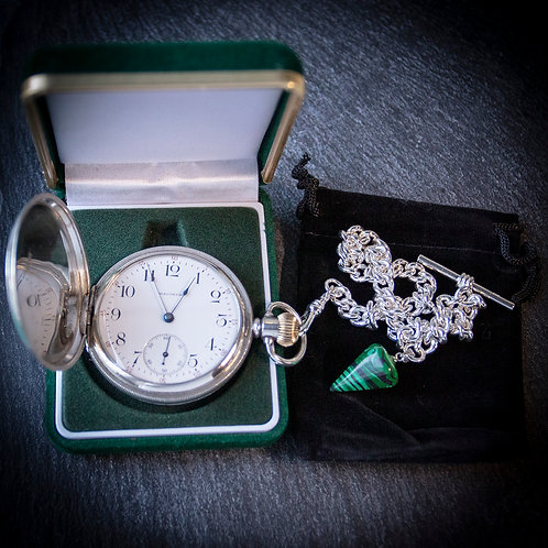 Waltham 17 Jewel Sterling Silver Full Hunter Pocket Watch with Albert Chain
