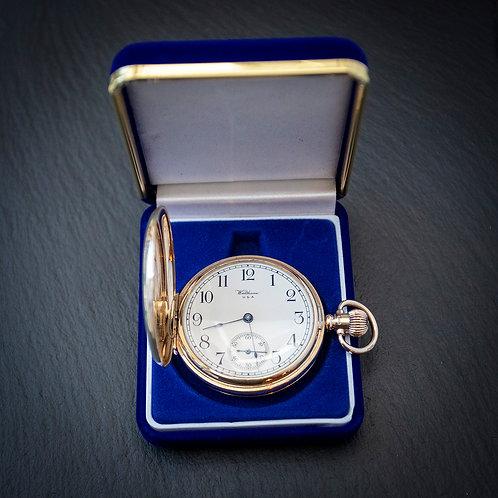 Solid 9ct Gold Waltham 17 Jewel Full Hunter Pocket Watch