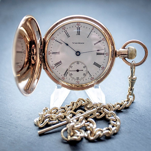 Waltham 19j 1Gold Filled Full Hunter Pocket Watch + Matching Chain