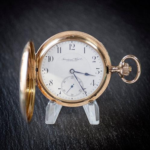 14K Solid Gold IWC Schaffhausen Full Hunter Pocket Watch