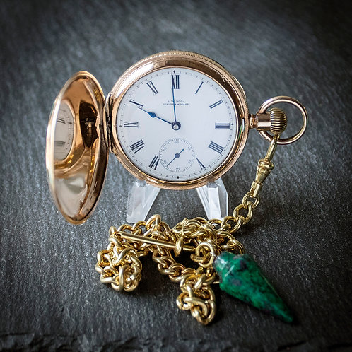 Fabulous Antique Victorian Waltham 14ct Gold Filled Full Hunter Pocket Watch
