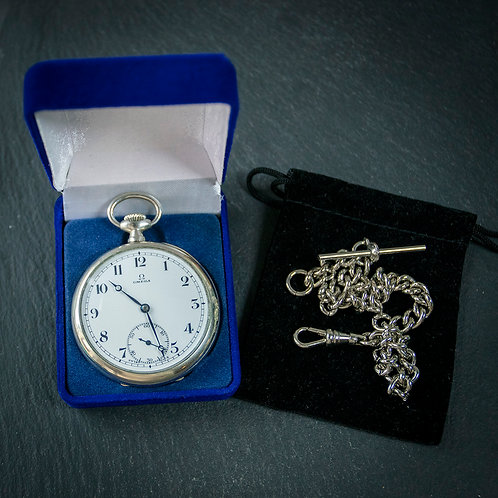 Steel Omega 15 jewel Pocket Watch + Steel Albert Chain
