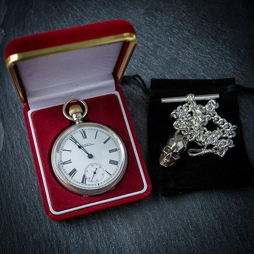 Victorian Waltham Model 1888 Sterling Silver Open Face Pocket Watch Memento Mori