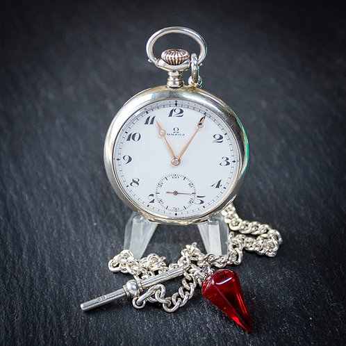 Silver Omega 15 jewel Pocket Watch * No chain *