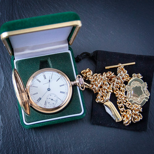 Handsome nWaltham 17J Gold Filled Full Hunter Pocket Watch + Double Chain + C