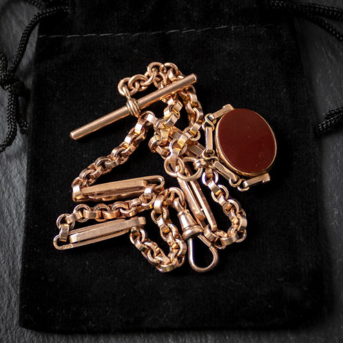 Solid 9ct Gold Fancy Link Albert Chain + Spinner Fob