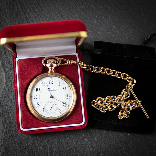 Rockford 17 Jewel 16s Open Face Pocket Watch with RG Albert Chain