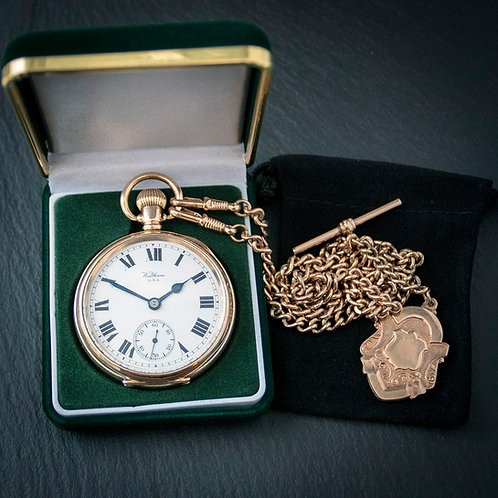 Waltham 19 Jewel Gold Filled Open Face Pocket Watch + Chain + Box