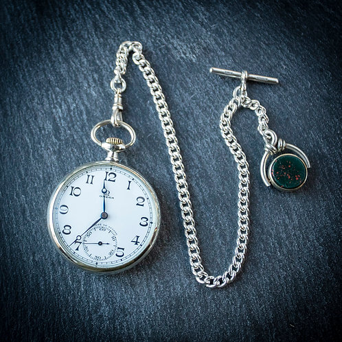 Omega 15 jewel Pocket Watch + Silver Albert Chain & Spinner