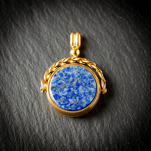 18ct Rolled Gold Blue Stone Set Spinner Fob for Pocket Watch Albert Chain