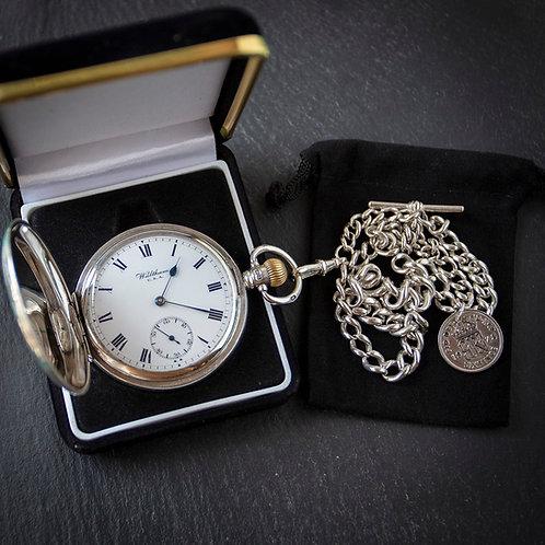 Waltham 15 Jewel Sterling Silver Full Hunter Pocket Watch + Chain