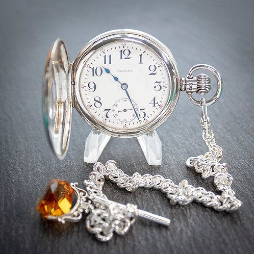 Waltham Sterling Silver Half Hunter Men's Pocket Watch + Chain + Spinner