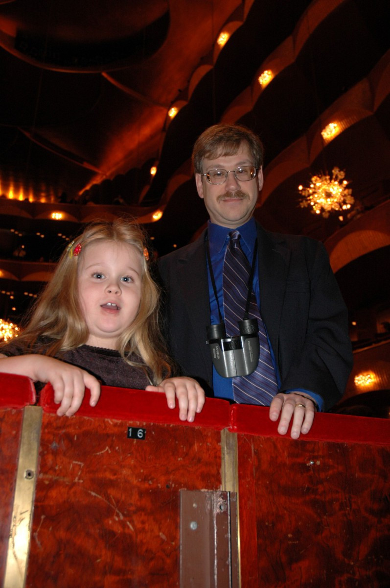 April 2004: Melanie and Garry greet Susan Spector at the edge of the orchestra pit prior to a performance of one of the Ring operas.