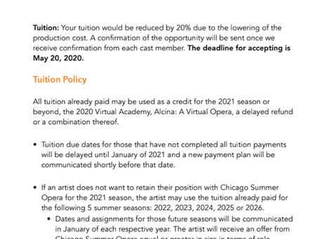 'Chicago Summer Opera' Refuses to Refund Young Artists' Tuition for 2020 Season