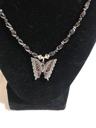 Butterfly Hematite Necklace