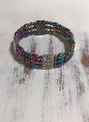 Triple Rainbow Magnetic Hematite Bracelet