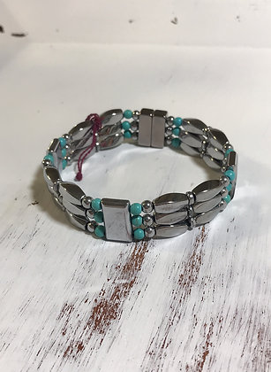 Triple Silver and Turquoise Bracelet