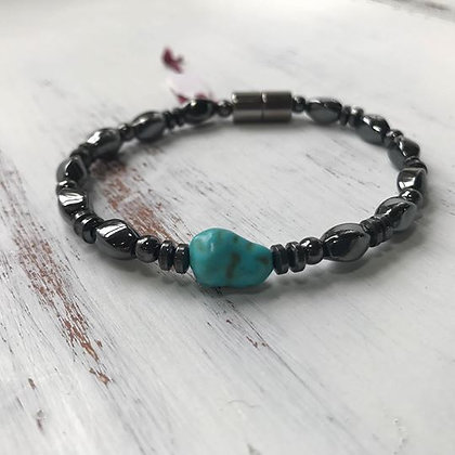 Single Strand GunMetal Turquoise Stone Bracelet