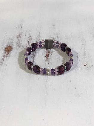 Purple Magnetic Hematite with Amethyst