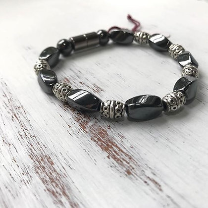 Single Strand GunMetal & Silver Bracelet