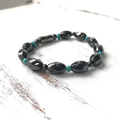 Single Strand GunMetal Turquoise Bead Bracelet