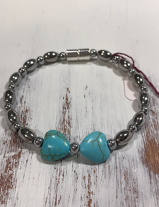 Turquoise Heart with silver bead
