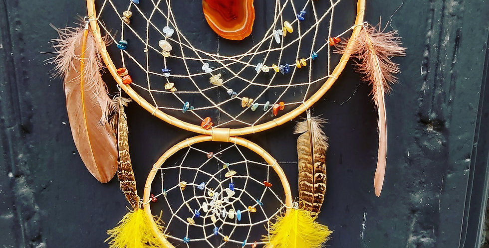 Mixed stone dreamcatcher & natural feathers