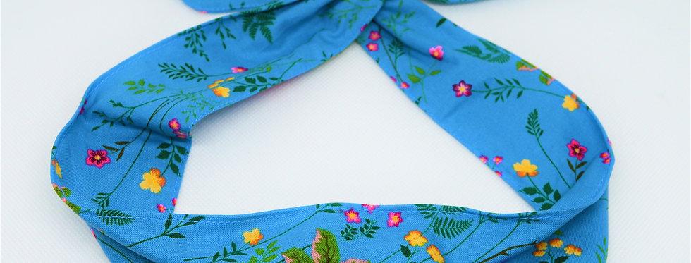 blue flower garden headband