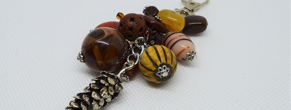natural toned pinecone keychain
