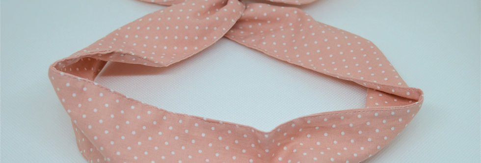 Pink and white dots wire headband