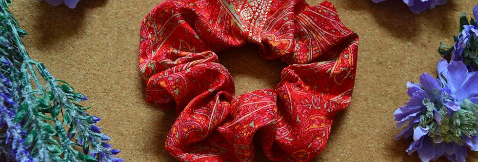 coral red sari silk scrunchie