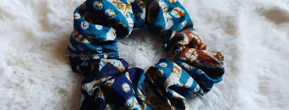 Blue sari scrunchie