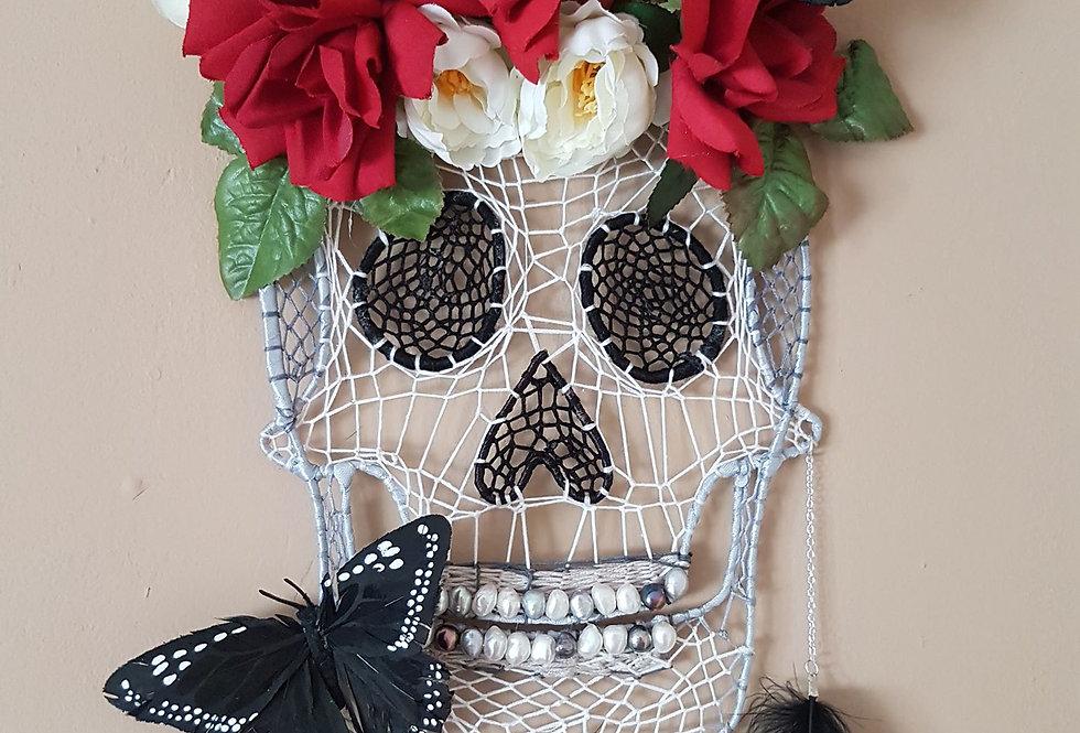skull and roses dreamcatcher