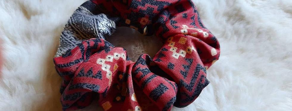 Deep coral pink boho sari scrunchie