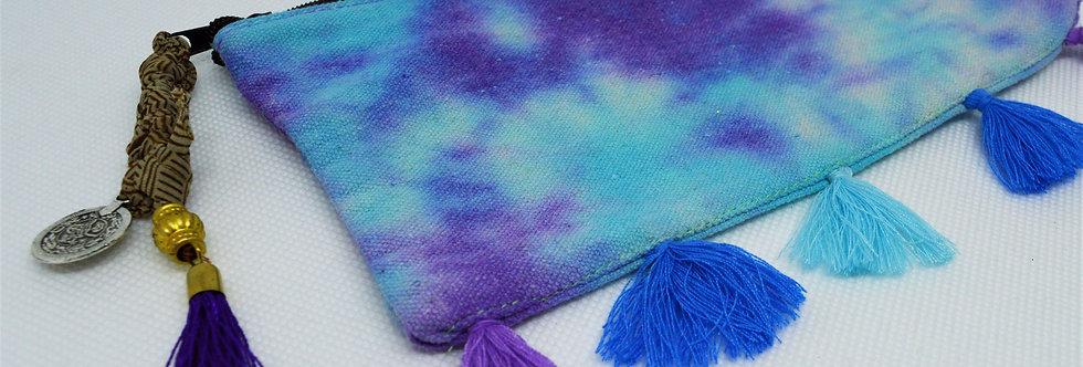 Purple tie dye makeup bag