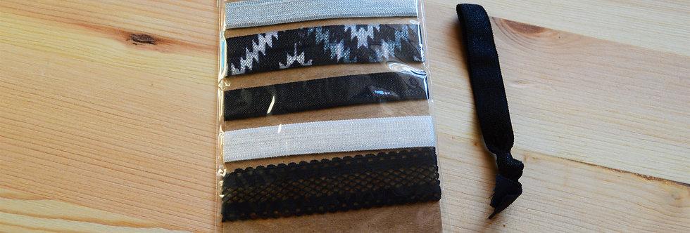 black and white hair ties