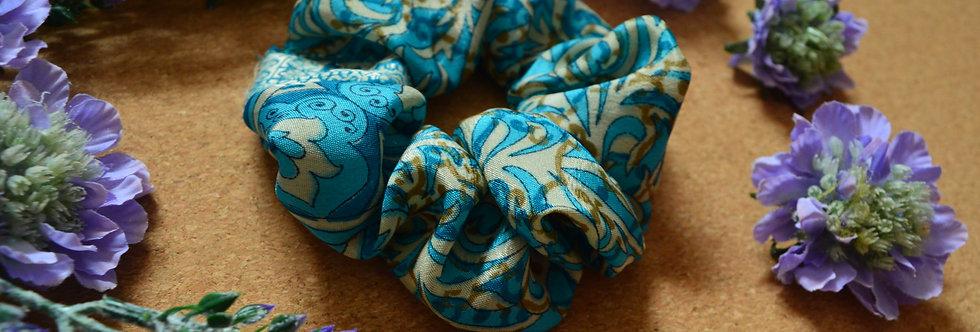 Pale blue sari silk scrunchie