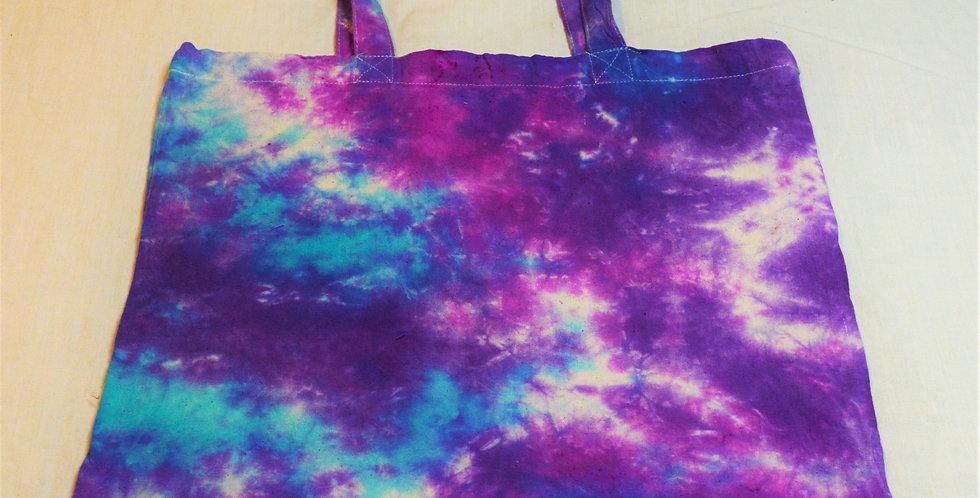 purple and blue tote