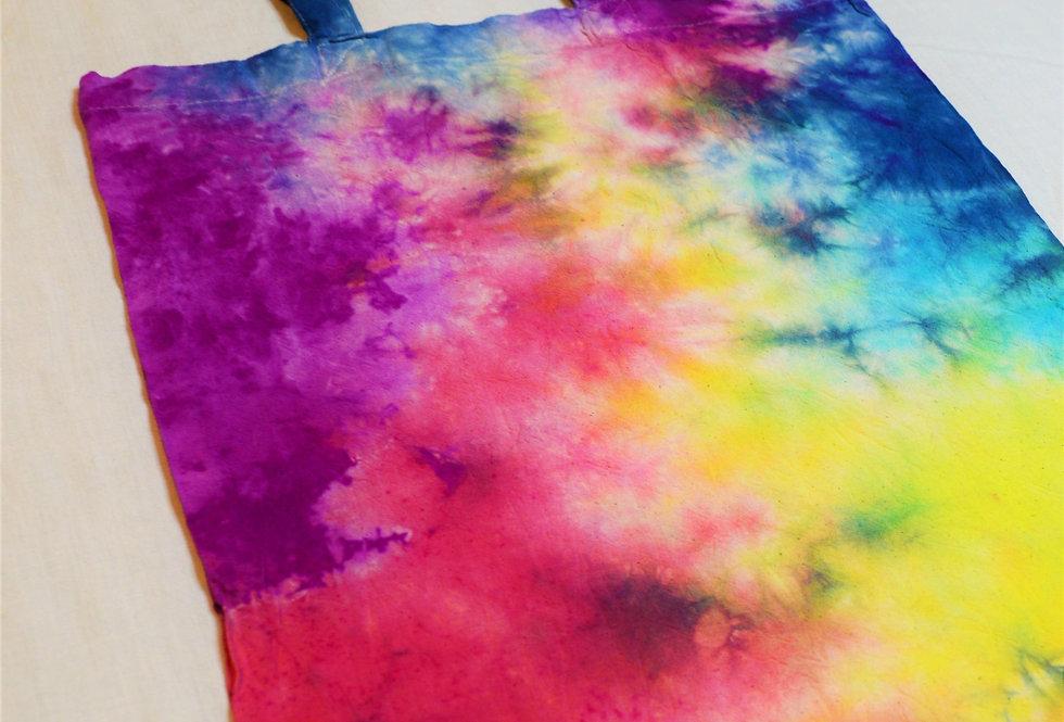 rainbow tie dye tote bag