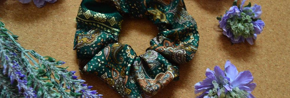 Forest green sari silk scrunchie