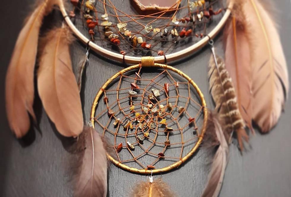 Crystal dreamcatcher, natural colours, gemstones ,gemchips, gift, autum, gemchip