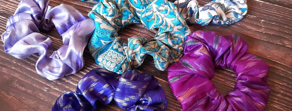 Purpe and blue Sari silk scrunchies box