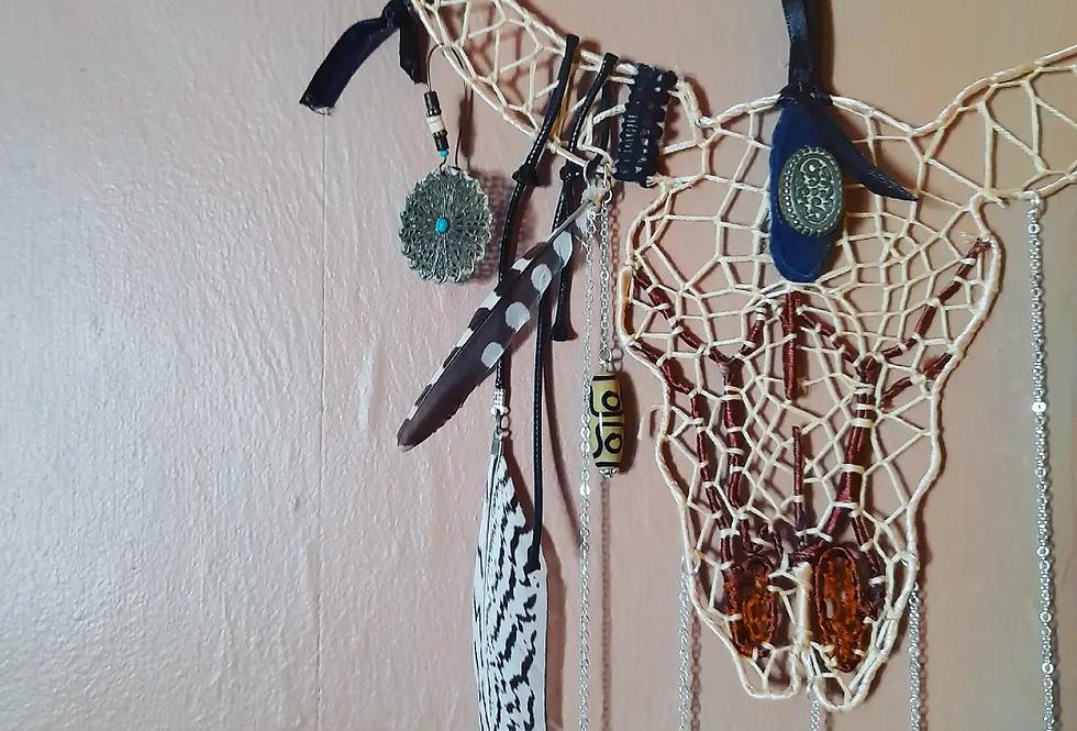 Boho animal skull wall hanging