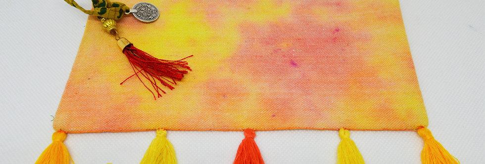Orange and yellow tassel makeup bag