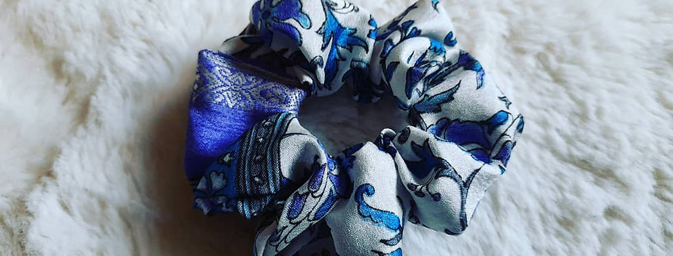 Blue/purple floral sari scrunchie