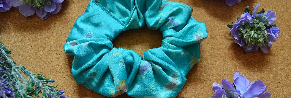 Light blue sari silk scrunchie
